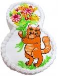 5 П Кот с цветами от 1.5 кг
